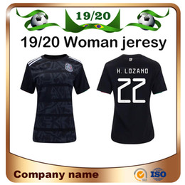 Vente de maillot de football mexique en Ligne-2019 Gold Coupe Mexique Jersey de football Femme 19/20 Maison Noire Chicharito Lozano Marquez Dos Santos Filles Football Shirt Ventes