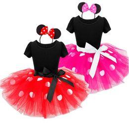 Algodão mickey on-line-Novas crianças de verão princess dress meninas mickey bolinhas suspensor tutu tutu dress crianças de algodão vestido de verão crianças roupas