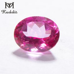 2020 anillos de oro topacio rosa Kuololit 100% Natural Rosa Topaz del corte del óvalo suelta la piedra preciosa 5.7ct real Topaz piedra floja de anillo de oro y de plata que hace DIY Anillo anillos de oro topacio rosa baratos