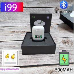 meilleur casque bluetooth pour blackberry Promotion Affichage numérique à DEL 5.0 Casque Bluetooth i99 TWS Écouteurs sans fil Stéréo Fenêtre contextuelle Prise en charge du casque de chargement sans fil