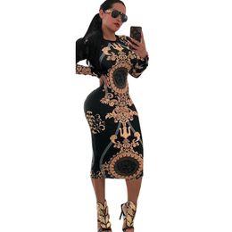 2019 gold maxi kleider Frauen designer dress stretch sexy party kleider floral bedruckte dünne club tragen wunderschöne vestidos maxi verband bodycon dress günstig gold maxi kleider