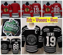 2df31de7d Youth Chicago Blackhawks 2019 Winter Classic Kids Hockey Jerseys Black 88  Patrick Kane 19 Jonathan Toews Ladeis Womens Mens Stitched Shirts