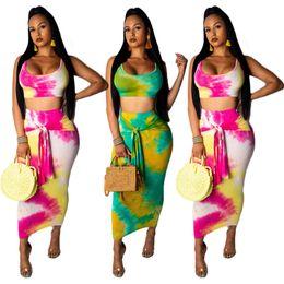 Длинный жилет женщин пояса онлайн-Женские макси-платья комплект топов без рукавов, окрашенные галстуком сексуальные пляжные укороченные топы, длинные платья с поясом, майка, майка, 2 шт. Нарядов LJJA2732