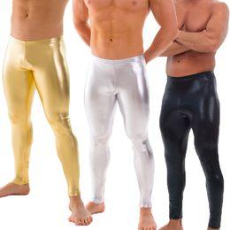 2020 mens calças brilhantes OVIGILY Mens Prata De Ouro Preto Metálico Dança Leggings Shiny Performance Calças de Palco Spandex Skinny Leggings Para Adultos E Meninos mens calças brilhantes barato