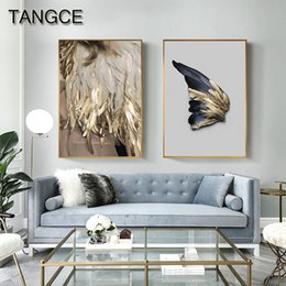 Arte de pared abstracto mujer online-Golden Wings Angel Canvas Painting Abstract Poster and Print for Living Room Cuadros Decoracion Dormitorio Luxury Wall Art Women
