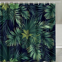 2019 existencias de cortina Ducha verde modelo de la cortina de las hojas de la planta de impresión Natural Modelo moderno de poliéster Cortinas de baño de 180 x 180cm