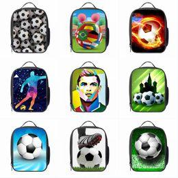 bolsas de futebol crianças Desconto Sacos de Almoço de futebol Futebol Futebol Impressão Crianças Cooler Lunch Box Bolsa de Ombro Ao Ar Livre de Piquenique De Armazenamento Isolados Sacos