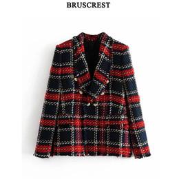 Красные дамские блейзеры онлайн-Урожай красный плед твидовый пиджак пальто женщины двубортный кисточкой костюм куртка зима повседневная blazer femme леди офис верхняя одежда