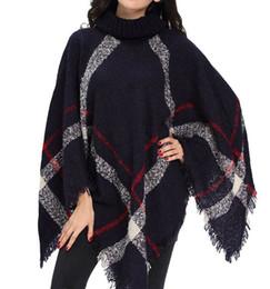 Nuove donne cardigan in lana a quadriTurtleneck Cape manica a pipistrello Knit Poncho Femme warm knitting Scialli Sciarpa di moda maglione da trasporto di goccia della mela fornitori