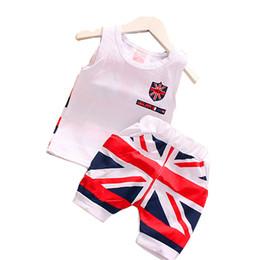 Pantalones cortos de niños británicos online-2019 Summer Baby Boys Clothing Set Algodón Estilo británico Diseño de la bandera Niños Niñas Ropa Chaleco + Shorts Traje para niños 1-5 Año