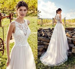 Grande taille robes de ville ivoire en Ligne-Robes de mariée blanc ivoire romantique pour les mariages de pays une ligne illusion dentelle haut de longues robes de mariée formelles pas cher plus la taille
