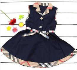 Милый ребенок девочка одежды плед онлайн-Детская одежда детские без рукавов платье ремни плед цвет соответствия милый личность стильный классический лацкане платье девушки