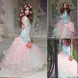 2019 encaje tul chicas rosa Gorgeous Pink Mermaid Flower Girls Vestidos 2018 Manga larga de encaje Vestidos de tul cansados del desfile para la niña Vestidos de fiesta para niños encaje tul chicas rosa baratos