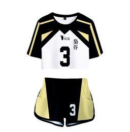 Manga T-Shirt e Shorts Cosplay Fukurodani Shiratorizawa Volleyball Uniforme Set Silver Basic Haikyuu!