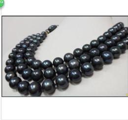 colliers à trois rangs de perles noires Promotion ÉNORME ORIGINAL AAA10-11MM TRIPLE STRANDS COLLIER TAHITIEN NOIR PERLE 17