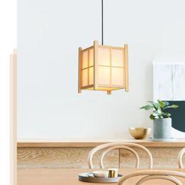 Luces colgantes de estilo japonés online-Japonés luz de estilo de restaurante, restaurante olla caliente, japonés colgante restaurante a la, lámpara de madera, 110V, E27, tatami sencilla l Chino