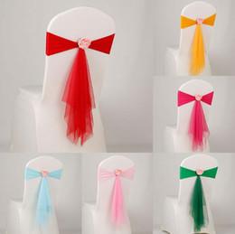 спандекс Скидка Фантазийные свадебные пояса для украшения Эластичные полиэфирные и марлевые ленты для стула с индивидуальным искусственным цветком