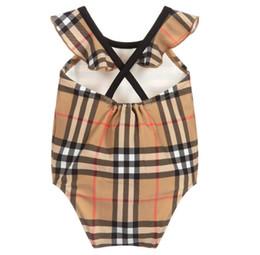 Macacões de alta qualidade on-line-Novo best selling high end one-piece nadar bebê meninas macacões clássico lattice swimwear menina maiô crianças roupas de praia