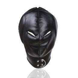 Máscara de fantasía online-Máscara de cuero de la PU de la fantasía de la última moda, máscara sexual del esclavo, restricción de BDSM, cremallera, abertura, ojos, juguetes eróticos