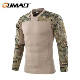 2019 camuflagem camisa de manga comprida uniforme Camuflagem T-Shirt de Combate Tático Homens Força Multicam Camo Exército Camisa de Manga Longa Caminhadas Escalada Uniformes de Tiro camuflagem camisa de manga comprida uniforme barato