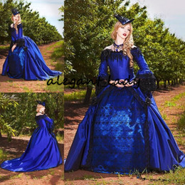 Saia rendas até on-line-Royal Blue with Black Gothic Victorian Wedding Dresses Vintage Long Sleeve Puffy Princess Skirt corset lace-up back Masquerade Bridal Gowns