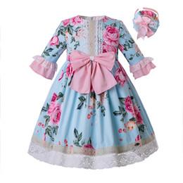 vestido de cumpleaños de diseñador para niñas Rebajas Pettigirl La más nueva flor azul impresa bebé niña vestido fiesta cumpleaños niños diseñador de ropa G-DMGD112-A271 (longitud de vestido debajo de la rodilla)