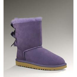 Botas de neve roxas para mulheres on-line-Senhoras Sapatos de Inverno ug botas de neve mulheres designer de moda clássico Botão Bow 3280 austrália ankle boots cinza areia roxo botas mujer venda