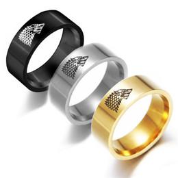 juego de oro tronos joyas Rebajas Juego de tronos de acero inoxidable Winterfell Stark Wolf Ring Silver Gold Black Band Ring para mujeres hombres joyería de moda envío de la gota