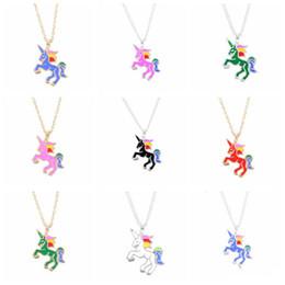 Çocuklar Takı Moda Renkli Sır Bırak Yağ Gökkuşağı Unicorn Kolye Kolye Basit Çocuk Zincir Kolye Noel Doğum Günü Hediyeleri nereden