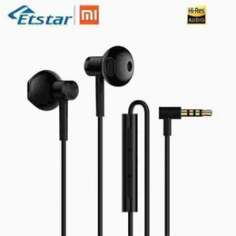 2019 corno originale Microfono originale Xiaomi Hybrid DC Earphone Dual Driver Half in-Ear piezo-corno MEMS Microfono Spina a forma di L Controllo del filo di tenacità sconti corno originale