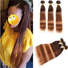 "Tramas de pelo marrón medio online-Brown Roots to Medium Auburn Ombre Cabello humano peruano 3Bundles rectos # 4/30 Brown to Auburn Ombre Virgin Hair teje tramas dobles 10-30 """