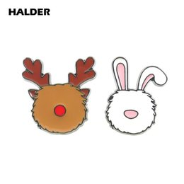 Смешные бижутерия онлайн-BR0052 HALDER Rreindeer  Face Brooches Cartoon Fashion Jewelry Funny Pins Lapel Badge Accessory Gift Clothes Decoration