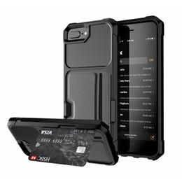 Capas de manga para telefones celulares on-line-5 Cores Estojos Magnéticos Com Titular do Cartão Para O Carro Iphone XS Max XR X 6 S 7 8 além de Armadura de Volta Telefone Celular Cobre Macio Shell Luva Protetora