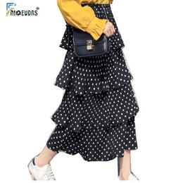 Yaz Etekler Yüksek Bel kadın Sıcak Tasarım Kore Tasarım İnce Siyah sevimli Tatlı Kız Patchwork Dantel Polka Dot Etek Uzun MX190717 MX190717 nereden