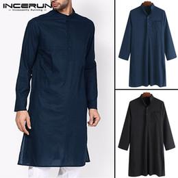 2019 Hombres indios clásicos visten túnica ropa trajes Kurta camisa camisa de manga larga masculina suelta collar del soporte musulmán islámico Kurta Tops desde fabricantes