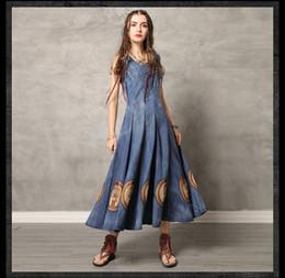 mais tamanho saias redondas Desconto Vestidos de verão novo em torno do pescoço colete saia longa do vintage bordado denim plus size dress frete grátis