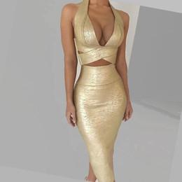 projeto do pescoço do lado de trás Desconto 2019 herve Hervigne cross-border modelos de explosão sizzling das mulheres sexy hot ouro pendurado no pescoço tops de cintura alta saia moda terno
