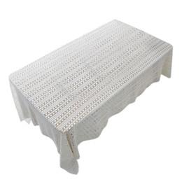 Häkeltische online-Weiße Tischdecken für Hochzeit Rechteck häkeln Tische decken handgemachte hohle weben Tischdecke Startseite Wohnzimmer Dekor