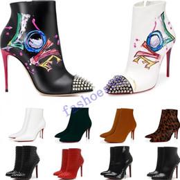sapatos vestido estilo europa Desconto 2020 [Box Original] Womens altos New Sexy Heels 100mm bota vermelha Fundo de couro do tornozelo Inverno real Bombas Paris Botas Tamanho 35-41