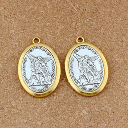 archangel pendants Promo Codes - Two - tone Catholic patron San Michael the Archangel Alloy charm Pendants 10Pcs lot Fashion DIY Jewelry 31.8x47.5mm A-548