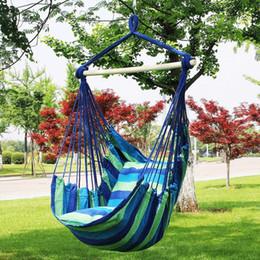 Hamaca colgando en el interior online-Hamaca Silla de cuerda colgante Silla de columpio Asiento para uso en el jardín Al aire libre Jardín de viaje Camping Hamaca MMA2198