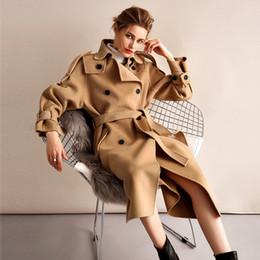 xs mujer abrigo largo coreano Rebajas Europa Moda coreana 2018 Otoño Invierno High End Lana de doble cara Cachemira Mujer Chaqueta larga Abrigo Talla grande Abrigo femenino