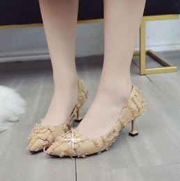 stiletto schuhe zum verkauf Rabatt Hot Sale-Single Schuhe weiblich 2019 neue Wildleder spitzen flachen Mund Stiletto High Heels koreanische Mode Pelz Schuhe sexy Katze Schuhe