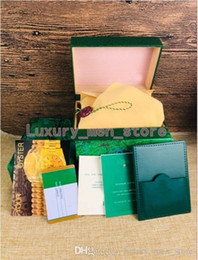 Vraies montres en Ligne-Nouvelle montre de luxe BOÎTES pour Rolex Marque Hommes Montres Vert Original Véritable Bois Coffret Cadeau Papier Fit Rolex Boîte de Montre