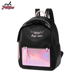 7fb5d51e0bda JUST STAR Women s PU Leather Backpack Female Fashion Laser Double Shoulder  Bags Ladies Embroidery Letter Travel Rucksack