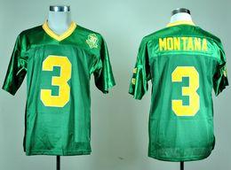 Camiseta de fútbol joe montana online-Hombres 1977 Vintage Joe Montana College Camisetas de fútbol Verde # 3 Joe Montana Camisetas de fútbol cosidas 30th Patch