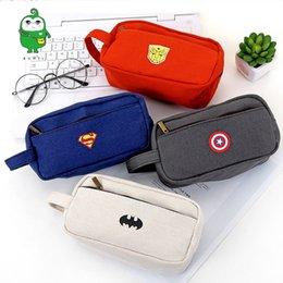 Lápiz abierto online-Superhero Canvas Pencil Case Creative Large Capacity Side Open Zipper Pencil Bag For School Stationery Students Art Supplies