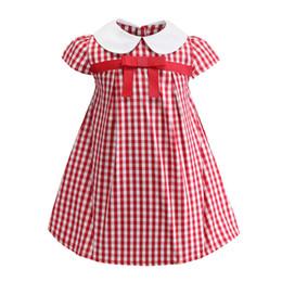 Vestido xadrez bebê vermelho on-line-Varejo bebê menina vestidos de verão arco xadrez vermelho impresso princesa de algodão vestido casual vestidos crianças boutique de roupas crianças roupas de grife