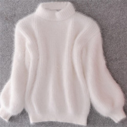 1386f3830a2 2019 New Fashion Women Winter Sweater Thickened Warm Turtleneck Mohair  Female Sweater Casual Solid Lantern Sleeve