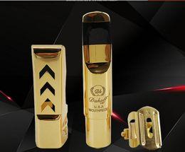 Nova chegada Dukoff Tenor Soprano Alto Saxophone metal mouthpiece ouro Lacquer Bocal Sax Dukoff Professional de Fornecedores de novos saxofones selmer